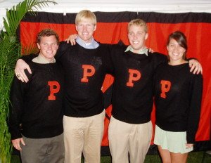 princeton student athletes in their varsity letter sweaters